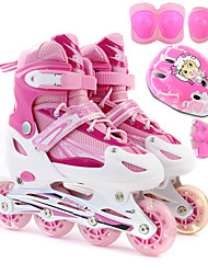 Kid's Inline Skate Set with Helmet & Knee Pad LED Light Blue/White/Blushing Pink