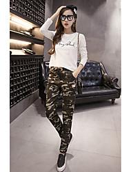 segno elastico coulisse in vita allacciatura dei pantaloni camouflage distintivo harem delle donne pantaloni casuali piedi