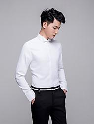 billige -Herre-Ensfarvet Afslappet Skjorte