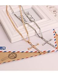 Муж. Жен. Ожерелья-цепочки Имитация Алмазный Сплав Крестообразной формы Крест Золотой Серебряный БижутерияДля вечеринок Особые случаи