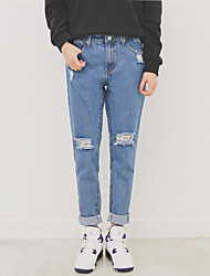 Figure Chicgirl official website fresh college wind tide personality loose straight beggar hole worn jeans