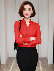 Sign long-sleeved shirt 2017 spring new Korean fashion wild female chiffon shirt collar collar Slim