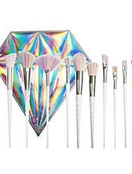 cheap -the new 10 spiral pearl white makeup brush set with laser diamond bag professional unicorn with the same color brush hair brush brush