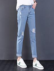 Sign spot 2017 spring new Korean women loose trousers feet hole jeans HO5224 Yuan