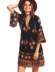 HOT! M-XL Plus Size Women's Going out Casual/Daily Beach Sexy Vintage Boho Sheath DressPrint V Neck Above Knee Long Sleeve Summer Mid Rise