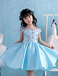 Ball Gown Knee Length Flower Girl Dress - Satin Chiffon Short Sleeves Jewel Neck