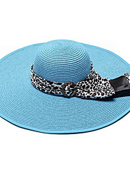 cheap -Women 's Summer Sun Folded Pure Color Straw Big Brim Beach Bowknot Ribbon Seaside Sun Hat