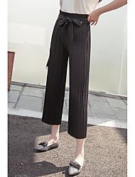Signo pantalones flaco ancho de banda lazo flojo pantalones anchos pantyhose plisado culottes presión casual plisado vaqueros rectos