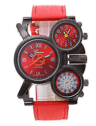 cheap -Men's Military Watch Quartz Three Time Zones Leather Band Cool Black Red Navy