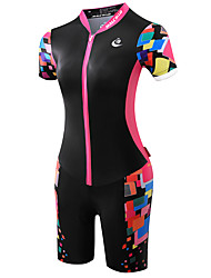 cheap -Malciklo Women's Short Sleeves Tri Suit - Black/Pink Bike Anatomic Design, Ultraviolet Resistant, Breathable, Sweat-wicking, Reflective