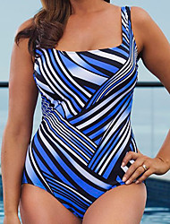 Women's Fashion Halter Striped Sports High Rise One-Piece Swimsuits