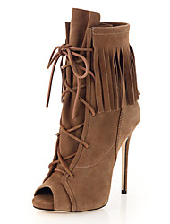 Women's Boots Fall Winter Club Shoes Gladiator Comfort Novelty Suede Outdoor Party & Evening Dress Casual Stiletto Heel Lace-up Walking