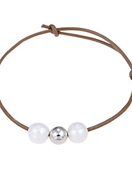 cheap -Lureme Cultured Freshwater Pearl Khaki Adjustable Leather Bracelet Handmade Pearls Jewelry