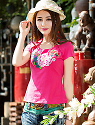 New women's national wind embroidery short-sleeved round neck collar plus super soft elastic fabric pilling T-Shirt