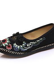 Недорогие -Черный Красный-Для женщин-Повседневный-Ткань-На плоской подошве-Удобная обувь-Мокасины и Свитер