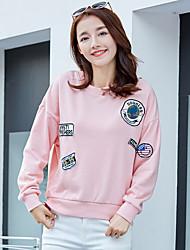 Signer 2017 printemps nouvelles femmes coréennes simple ronde du cou était mince loose manches longues t-shirt