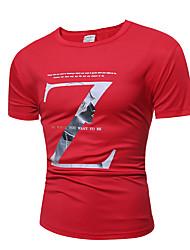 Herren Druck Aktiv Punk & Gothic Lässig/Alltäglich Arbeit Sport T-shirt,Rundhalsausschnitt Sommer Kurzarm Baumwolle Polyester Dünn