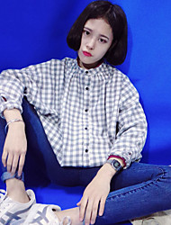 The new Korean Institute of wind retro small collar long-sleeved plaid shirt real shot