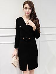2016 Fall Women's new long-sleeved dress lapel Slim was thin Korean ladies bag hip bottoming skirt career