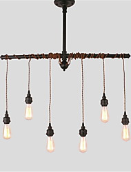6 Heads Rustic Industrial Black Metal Hanging Pendant Light Living Room Dining Room Cafe