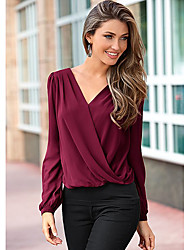 cheap -Women's Office / Career Business / Ceremony / Wedding Classic & Timeless Spring Fall Blouse,Solid Color V-neck Long Sleeves Chiffon Medium