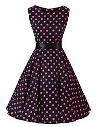 levne -Dámské Vintage A Line Šaty - Puntíky Délka ke kolenům