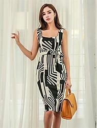 cheap -Women's Daily Wear Classic & Timeless A Line Dress,Art Deco Deep U Knee-length Sleeveless N/A Summer High Waist Inelastic Medium