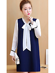Sign 2017 spring new Korean bow spell color pressure pleated long-sleeved dress was thin large size women