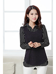 2017 new women's large size shirt fake two striped long-sleeved loose stitching real shot