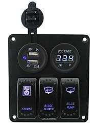 cheap -Iztoss blue led 3 gang 5pin rocker switch panel with 5V 3.1A(2.1A1A) Dual USB and 12V Voltmeter wiring kits DC12V/24V for Marine Boat Car Rv Vehicles