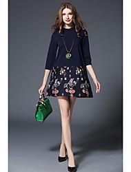 Spot real shot -2017 новые модели весенней моды большие ярды короткий рукав a-line юбка была тонкая подложка