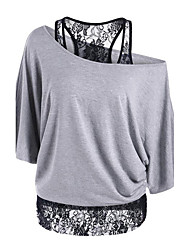 cheap -Women's Going out Sophisticated Loose T-shirt - Solid Colored / Patchwork Off Shoulder / Lace