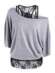 abordables -Tee-shirt Femme, Couleur Pleine / Mosaïque Sortie Sophistiqué Epaules Dénudées Ample / Dentelle