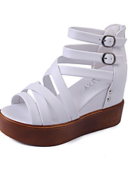 cheap -Women's Sandals Gladiator PU Spring Summer Casual Dress Party & Evening Gladiator Beading Buckle Wedge Heel White Black 4in-4 3/4in