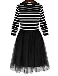 Women's Dailywear Prom Street Sweet 16 School Date Vintage A Line Dress,Stripe Round Neck Knee-length Long Sleeves N/A Fall High Rise