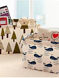 1Pcs  20*16*13cm Cute Linen Desk Storage Box Holder Jewelry Cosmetic Stationery Organizer Case Random color