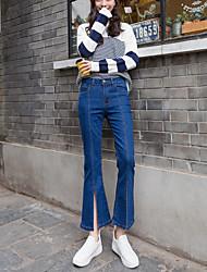 подписать новые модели весной был тонкий стрейч джинсы женщина ретро кости линия раскола рог колготок