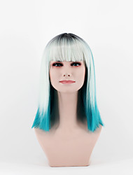 Women Synthetic Wigs New Fashion Short Ombre Straight Bob Grass Blue Silver Mixed With Bang Wig