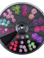 cheap -Black Large Size 8*8cm Wheel 49Pcs Floral Studs Supplies For Nails 3D Colorful Resin Flower Design Nail Art Decorations