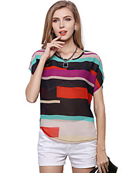 cheap -Women's Daily Plus Size Cute Casual Spring Summer Blouse,Rainbow Patchwork Round Neck Short Sleeves Polyester Thin Translucent