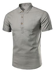 Недорогие -Для мужчин На каждый день Офис Большие размеры Все сезоны Лето Рубашка Рубашечный воротник,Простое Однотонный С короткими рукавами,Хлопок