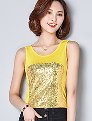 Sign new wild sequins stitching knitted vest big yards was thin female
