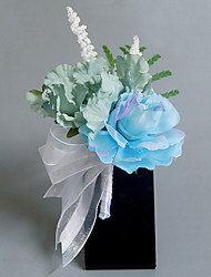 cheap -Wedding Flowers Free-form Roses Peonies Boutonnieres Wedding Party/ Evening Light Blue Satin