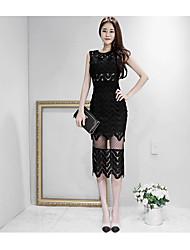 2017 été nouveau korean ol tempérament slim ajouré en dentelle coutures paquet hanche mode robe femme