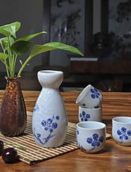 giapponese fiore dipinti a mano ad alta temperatura del vino sake in porcellana set con quattro tazze