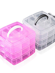 Manicure Jewelry Box With Three Layers of Plastic Storage Box Transparent Removable Makeup Hair Jewelry Box