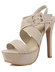 abordables -Mujer Zapatos Vellón Verano Confort Tira en el Tobillo Zapatos del club Sandalias Paseo Tacón Stiletto Puntera abierta Hebilla para Boda