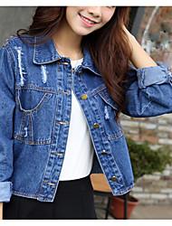 2017 spring and autumn new Korean female tide hole denim jacket coat jacket fashion wild spot