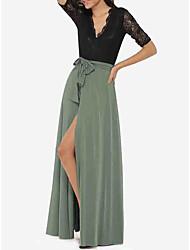 Европейский гран-при 2017 летние новые V-образным вырезом кружево шить рукавом платье имеет разъем пояса вытирая пол