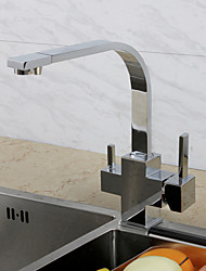 Contemporary Art Deco/Retro Modern Standard Spout Tall/­High Arc Beverage Centerset Rain Shower Widespread Thermostatic Ceramic Valve